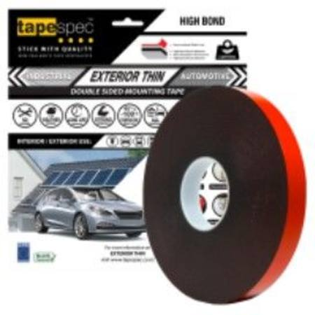 1823RBL EXTERIOR THIN BLACK POLYETHYLENE TAPE 0.6MM X  12MM X 15 METRE ROLL CLAMSHELL