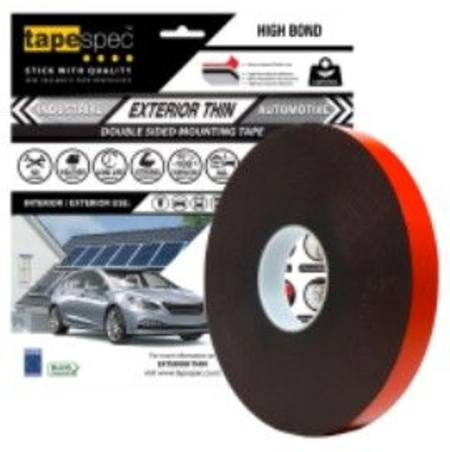 1823RBL EXTERIOR THIN BLACK POLYETHYLENE TAPE 0.6MM X  24MM X 15 METRE ROLL CLAMSHELL