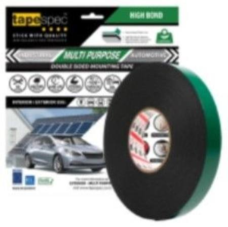 1822RBL MULTI PURPOSE BLACK POLYETHYLENE TAPE 1.1MM X  18MM X 15 METRE ROLL CLAMSHELL