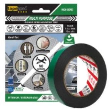 1822RBM MULTI PURPOSE BLACK POLYETHYLENE TAPE 1.1MM X  12MM X 5 METRE ROLL BLISTER PACK