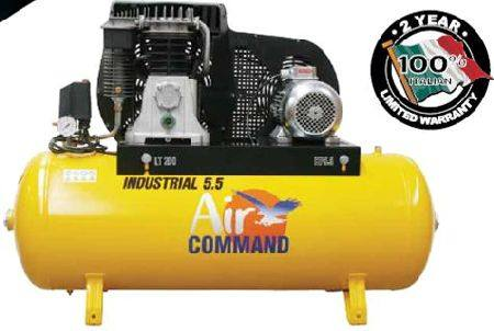 AIR COMMAND 3PHASE 5.5HP INDUSTRIAL 23cuft COMPRESSOR WITH FREE 15 MTR AIR HOSE REEL 1/9/20 - 31/10/20