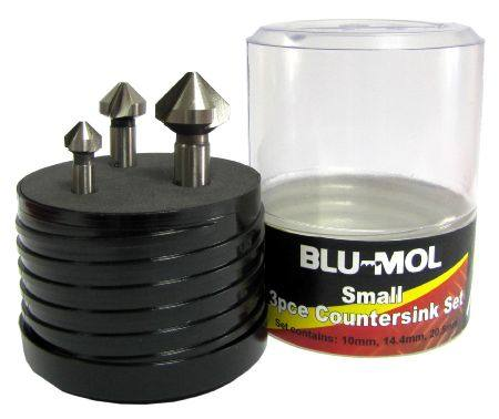 BLU-MOL 3 FLUTE 90° 3pc SMALL COUNTERSINK SET 10 14.4 & 20.5mm