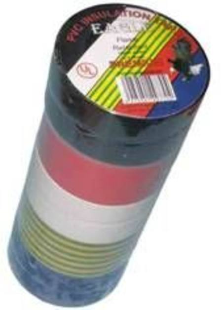 EAGLE INSULATION TAPE 19mm x 20m x .18mm RAINBOW COLOURED ROLLS pkt10