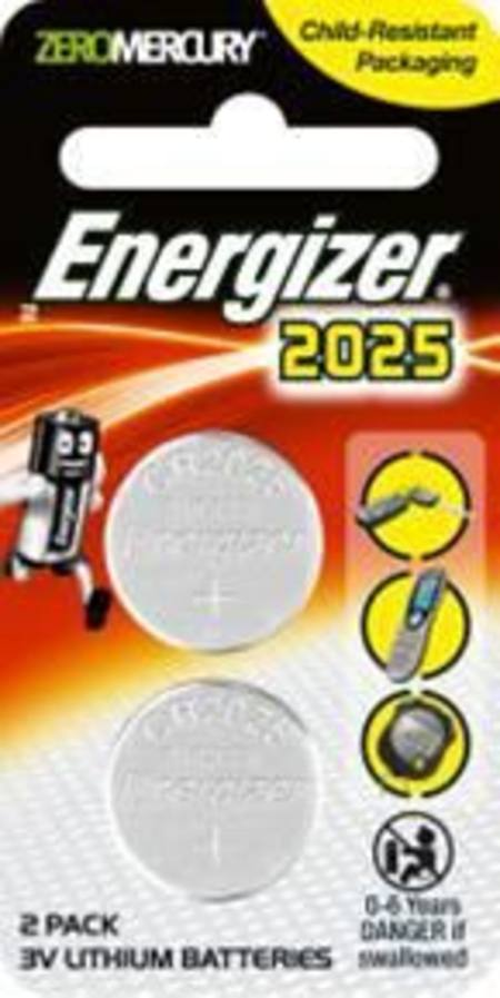 ENERGIZER CR2025 3v ELECTRONICS LITHIUM COIN BATTERY PKT 2