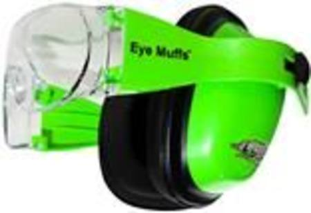 EYEMUFFS COMBINATION GRADE 4 EARFMUFFS WITH SAFETY GLASSES BUILT IN - FLUORO GREEN