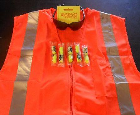HI VIS KIT WITH LARGE ORANGE DAY-NIGHT VEST with SAFETY GLASSES 5pairs EAR PLUGS