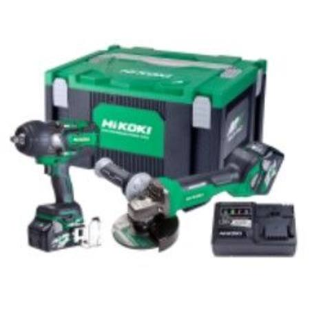 HIKOKI 36V IMPACT WRENCH AND 125MM GRINDER KIT 2 X 1080W MULTI VOLT BATTERIES COMBO KIT