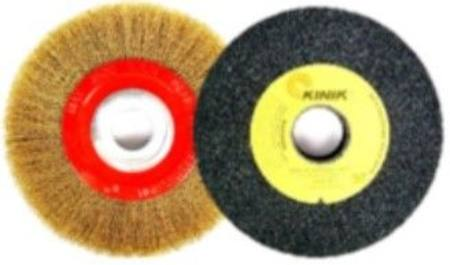 LION 150 X 25 MULTI FIT BRASS COATED WIRE WHEEL BRUSH / 150 X 25 A46 GREY GP GRINDING WHEEL COMBO