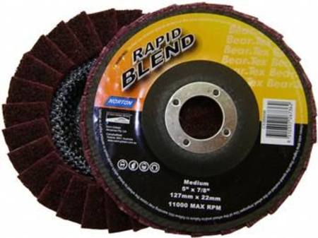 NORTON 125mm RAPID BLEND MEDIUM SURFACE CONDITIONING FLAP DISC (MAROON)