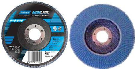 NORTON NORLINE FIBRE BACK NORZON FLAP DISC 100 x 16 x 40 GRIT