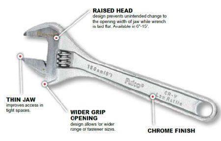 "PROFERRED 375MM - 15"" CHROME ADJUSTABLE WRENCH"