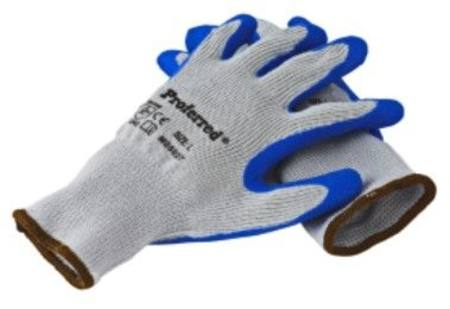 PROFERRED BLUE LATEX - GRAY POLYESTER INDUSTRIAL GLOVES MEDIUM SIZE