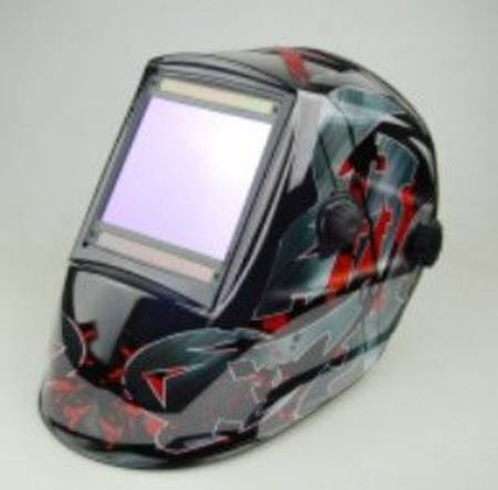 RED & GREY DESIGN LARGE SCREEN AUTO SOLAR POWERED WELDING HELMET