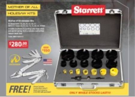 STARRETT 19PC BI-METAL & TUNGSTEN CARBIDE TIPPED HOLE SAW KIT