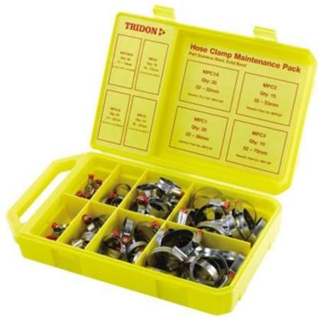 TRIDON 125pc SEMI STAINLESS RURAL HOSE CLAMP ASSORTMENT IN BOX