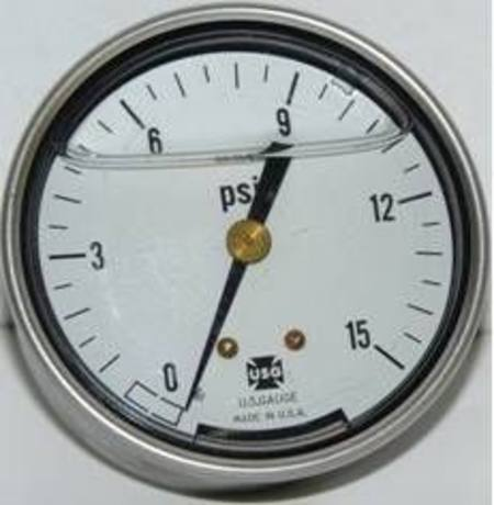 "USG 65mm 15psi 1/4"" REAR ENTRY OIL FILLED GAUGE"